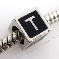 new fashion nice Letter T Charms Beads English Alphabet Black Enamel Square charming Bead 150763