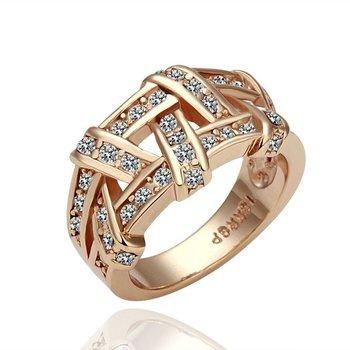 18KGP R061 Rose Gold Weave 18K Gold Plated Ring Health Jewelry Nickel Free K Golden Plating Platinum  Austrian Crystal