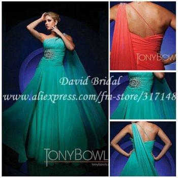 Barato una línea larga de la gasa verde menta y vestidos de baile vestido de un hombro GW203