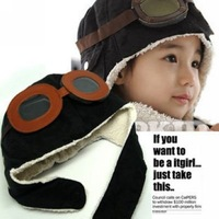 Free Shipping Wholesale 2 colors mixed 10pcs/lot-Popular Pilot Baby Boy winter Hat/cap/Beanie