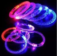 Free Shipping 20pcs/lot Novel New LED Acrylic Flashing Crystal Light up Blinking Bracelets, Christmas/Halloween/Festival Gift