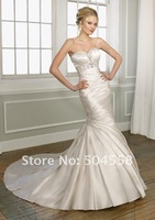 One-shoulder Beading Fold Bridal Beaded Gowns Evening/Prom/Homecoming Dresses