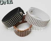 Браслет из нержавеющей стали 12pcs/lot Fashion Clinch leather bracelet punk fastener Long Bracelet Bangle