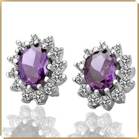 KE029 flower purple crystal stud earrings 18k gold plated new fashion jewelry wholesale