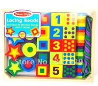 Wholesale free shippingWooden puzzle toys - wooden colorful 27 capsules string blocks/arithmetic block/geometric building block