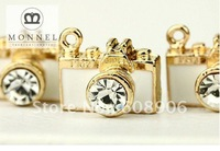 H541 Cute White Camera Crystal Charm Pendant (3 pcs)