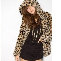 women's fashion autumn winter Leopard Hooded coat jackets free shipping hot sale