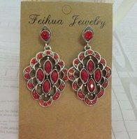 E-07 free shipping crystal earring stone earrings resin eardrop alloy earring