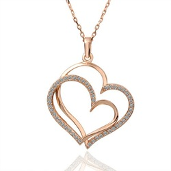 18KGP N003 Double Hearts Fashion Jewelry,18K Gold Plated Necklace Pendant Nickel Free Crystal SWA Elements(China (Mainland))