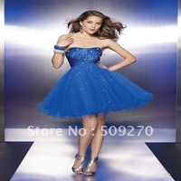 2011 New Strapless Mini Fold A-line Beaded Tulle Formal Cocktail Dresses