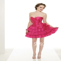 For Women Lovely Strapless Mini Satin Sheath Pleated Red Cocktail Dresses