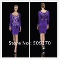 Top Quality Sexy Long Sleeves Prom Dresses Sheath Beaded Fairly Cocktail Dresses