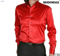 2011 new style men's casual fashion silk long sleeve shirt silk shirt color red