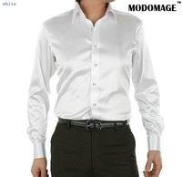 2011 new style men's casual fashion Silk long sleeve shirt Silk shirt color white