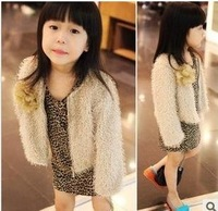Hot Selling Wholesale girls coat,children's jacket for autumn/winter kids fur outwear/long sleeve/Faux Fur Queen dress,5pcs/lot