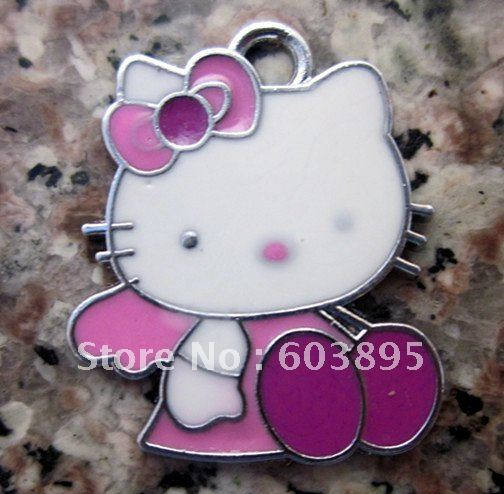 Free Shipping 100Pcs/Lots Enamel angel kitty charms with key charm kitty jewelry(China (Mainland))