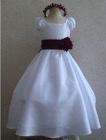 White red flower girl dress wedding dress