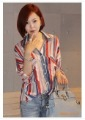 Freeshipping Wholesale 2011 New style Flouned / V Neck women's blouse,stripe /hot sale/Loose /Large size shirt