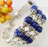 Wholesale Cheap Three Layer Tibet Silver blue lapis lazuli Bracelet/ Free Shiping 1Pcs