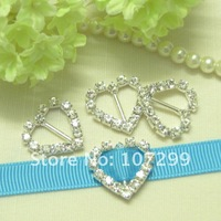 FREE SHIPPING--100pcs Heart Shape high quality,wedding invitation card A-Grade Rhinestone Buckle ribbon slider Craft DIY