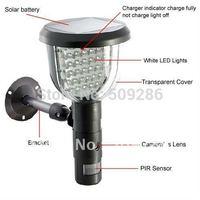 Wholesale price free shipping FIR motion detection LED light Solar DVR hide camera nice