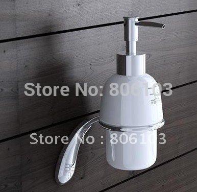 2014 Hot Sale Saboneteira Liquida free Shipping Hot Sell Classic Bathroom Accessories Brass Wall Mounted Round Soap Dispenser(China (Mainland))