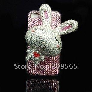Best Christmas Gift Choice ! Free shipping(1 piece/lot) wholesale custom 3D Sleepy Rabbit design diamond cellphone faceplate