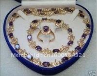 2012 hot Fashion Jewelery Purple Topaz necklace bracelet ring Sets With 14K