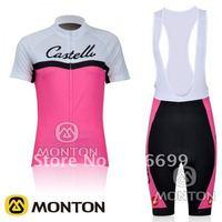 New 2011 CASTELLI Pink Women Short Sleeve Cycling Jerseys and Bib Shorts/Cycling Wear/Cycling Clothing/Bike Jersey/Cycling Kits