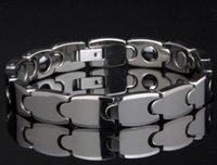 "MENS FASHION PURE TUNGSTEN Polished Bracelet BLACK MAGNETIC NEW 8.3"" Adjust Band"