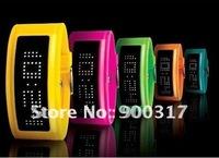 Lastest 125 led light fashion Luxury braclet LED watch Bracelet Circle led digital watch with plastic band 20pcs/lot