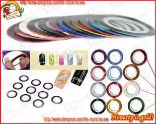 Freeshipping-100 rolls colour self-adhesive striping tape nail art metallic yarn decoration manicure wholesales