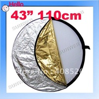 "New arrival 43"" 5-in-1 Light Mulit Collapsible disc Reflector Photography 110cm free shipping 456"