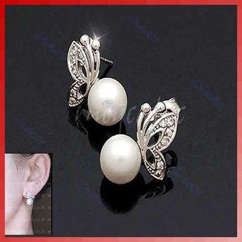 D19+Fashion Imitation Alloy Pearl Butterfly Wedding Stud Earrings