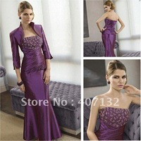 2011 New Style Strapless Beaded Purple Long Mother of the Bride Dress with Jacket
