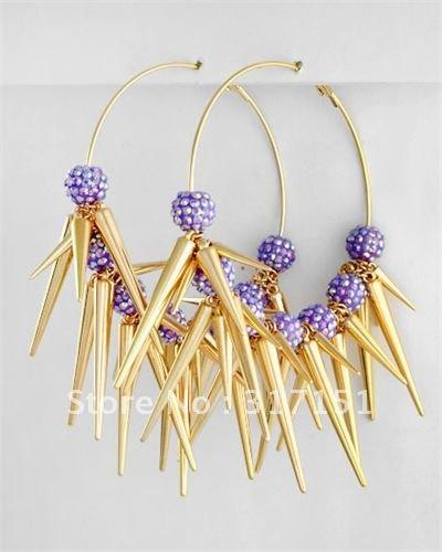 Wholesale - Basketball Wives Earrings Lavender Pam Spiked Pop Hoops Shambala Beads 12pcs/lot(China (Mainland))