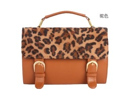 Free shipping new ladies&#39; PU fashion Leopard simple colorfull leather Messenger Bags hotsale wholesale(China (Mainland))