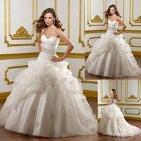 W1490 New Arrival Organza Beaded Ballgown Wedding Dress