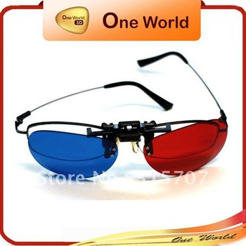 wholesale anaglyph clip-on 3d glasses for movie +Free shipping