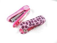 Pink leopard crystal metal rapid book stapler+100%handmade set with diamond