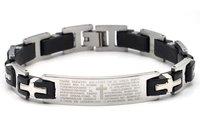 High Quality Men's 316L Titanium Steel Bible Cross Tennis Bracelet Width 12MM For Best Gift