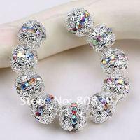 Shamballa Spacer Bead 8mm Crystal AB Glass Handicraft Globose Beads,Silver Plated Pave Rhinestone Balls Gem Jewelry Findings