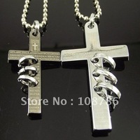 20pcs wholesale necklace stainless steel necklace cross pendant cross necklace for lover lovers' jewelry