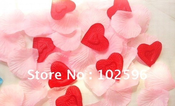 Free shipping,Pink Silk Rose Petals+Red heart shape Wedding Petals Party Favor Festival Decoration Hand Throwing Flowers 1000pcs(China (Mainland))