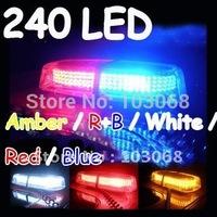 New 240 LED Mini Light Bar Amber / R+B / White / Red / Blue 7 Modes Emergency,Flash Strobe 20W Promotion!