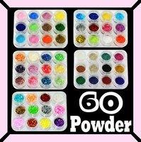60x GLITTER POWDER ACRYLIC NAIL ART UV GEL TIPS 33#