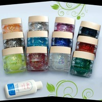 Mix 12 Color Spangle Glitter UV Nail Art Builder Gel Set Tool Kit 35#