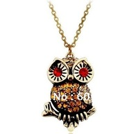 15Pcs/Lot,New Arrivel Vintage Ancient Bronze Owl Necklace Jewelry,Fashion Jewellery With Rhinestone Wholesale Free Shipping