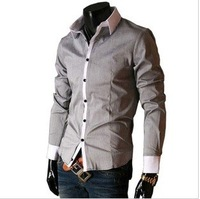 2012 New Mens Casual Slim Fit Stylish Shirts Colour:Gray  SizeM,L,XL,XXL 906