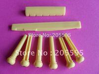 ABS Acoustic Guitar Bridge Pins+ saddle+Nut light yellow